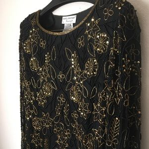 Papell boutique vintage black gold hand bead  tunic large EUC